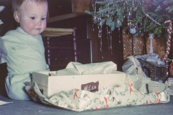 Marilyn opening gift in New Canaan